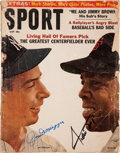 Baseball Collectibles:Publications, Joe DiMaggio and Willie Mays Multi Signed Magazine....