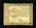 Colonial Notes:Continental Congress Issues, Continental Currency January 14, 1779 $3 Choice New. A lovelyexample of this much scarcer denomination which we only have o...