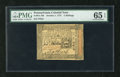 Colonial Notes:Pennsylvania, Pennsylvania October 1, 1773 5s PMG Gem Uncirculated 65EPQ.Unusually broad margins and exceptional centering are found on t...