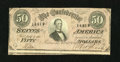 Confederate Notes:1864 Issues, T66 $50 1864. Plate letter M is found at bottom center. Very Fine....
