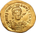 Ancients:Byzantine, Ancients: Justinian I. 527-565 AD. Solidus, 4.45g (6h).Constantinople, c. 527-537 AD. Obv: D N IVSTINI - ANVS PP AVGHelmeted bust fr...