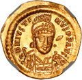 Ancients:Byzantine, Ancients: Byzantine Empire. Justin I. 518-527 AD. Solidus, 4.45g(7h). Constantinople. Obv: D N IVSTI - NVS PP AVG Helmeted bustfront...