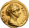 Ancients:Roman Imperial, Ancients: Diva Faustina I. Died 141 AD. Aureus, 7.14g (7h). Rome.Obv: DIVA - FAVSTINA Bust draped r. Rx: AVG - VSTA Ceres (orAeterni...
