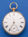 Timepieces:Pocket (pre 1900) , E.H. Biss Bath 18k Gold Lever Fusee Pocket Watch. ...