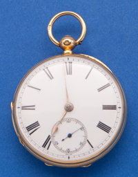 E.H. Biss Bath 18k Gold Lever Fusee Pocket Watch