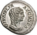 Ancients:Roman Imperial, Ancients: Diva Julia Domna. Died 217 AD. Denarius, 3.56g (12h). Rome. Obv: DIVA IVLIA - AVGVSTA Bust right, draped and veiled. Rx: CON...