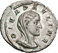 Ancients:Roman Imperial, Ancients: Diva Paulina, Wife of Maximinus I. Denarius, 2.16g (7h). Rome. Obv: DIVA PAVLINA Bust draped and veiled right. Rx: CONSECRAT...