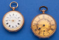 Two Swiss Fancy Dials 14k Gold Pocket Watches Runners