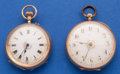 Timepieces:Pocket (pre 1900) , Two Swiss 14k Gold Fancy Dials Pocket Watches Runners. ... (Total:2 Items)