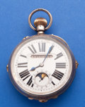 Timepieces:Pocket (post 1900), Swiss Sterling 66 mm Digital Calendar With Moon Phase Pocket Watch....