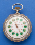 Timepieces:Pocket (post 1900), Roskopf Fancy Dial Pocket Watch Rare Bike Cycle Motif. ...