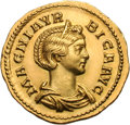 Ancients:Roman Imperial, Ancients: Magnia Urbica, Wife of Carinus. Aureus, 4.19g (6h).Lugdunum, 284 AD. Obv: MAGNIA VR - BICA AVG Draped bust right,wearing s...