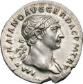 Ancients:Roman Imperial, Ancients: Trajan. 98-117 AD. Denarius, 3.30g (8h). Rome, c. 107 AD.Obv: IMP TRAIANO AVG GER DAC P M TR P Bust laureate right, foldof...
