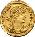 Ancients:Roman Imperial, Ancients: Constantine I. 307-337 AD. Solidus, 4.54g (6h).Constantinople, 336-7 AD. Obv: CONSTANTI - NVS MAX AVG Bust drapedand cuira...
