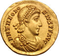 Ancients:Roman Imperial, Ancients: Theodosius I. 379-395 AD. Solidus, 4.48g (12h). Milan, c.389-91 AD. Obv: D N THEODO - SIVS P F AVG Pearl-diademed, draped,...