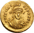 Ancients:Roman Imperial, Ancients: Arcadius. 383-408 AD. Solidus, 4.43g (5h). Thessalonica,c. 397-402 AD. Obv: D N ARCADI - VS P F AVG Helmeted bust fronthol...