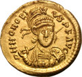 Ancients:Roman Imperial, Ancients: Honorius. 393-423 AD. Solidus, 4.39g (11h). Thessalonica, c. 397-402 AD. Obv: D N HONORI - VS P F AVG Helmeted, cuirassed bu...