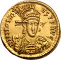 Ancients:Roman Imperial, Ancients: Honorius. 393-423 AD. Solidus, 4.44g (5h). Thessalonica,408-420 AD. Obv: D N HONORI - VS P F AVG Pearl-diademed, helmeted,...