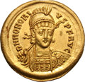 Ancients:Roman Imperial, Ancients: Honorius. 393-423 AD. Solidus, 4.49g (6h).Constantinople, 408-420 AD. Obv: D N HONORI - VS P F AVG Helmetedbust front hold...