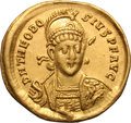 Ancients:Roman Imperial, Ancients: Theodosius II. 402-450 AD. Solidus, 4.38g (6h). Constantinople, c. 403-8 AD. Obv: D N THEODO - SIVS P F AVG Helmeted bust fr...