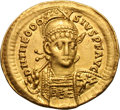 Ancients:Roman Imperial, Ancients: Theodosius II. 402-450 AD. Solidus, 4.46g (6h).Constantinople, 408-30 AD. Obv: D N THEODO - SIVS P F AVG Helmetedbust fro...