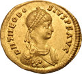 Ancients:Roman Imperial, Ancients: Theodosius II. 402-450 AD. Semissis, 2.15g (6h).Constantinople, c. 403-8 AD. Obv: D N THEODO - SIVS P F AVGPearl-diademed...