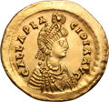 Ancients:Roman Imperial, Ancients: Galla Placidia, Mother of Valentinian III. Solidus, 4.45g(6h). Constantinople, 441-50 AD. Obv: GALLA PLA - CIDIA AVGPearl-...