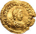 Ancients:Roman Imperial, Ancients: Anthemius. 467-472 AD. Tremissis, 1.44g (7h). Milan. Obv:D N ANTEHEMIVS (sic) PERPETV AG (final V and A ligate)Pearl-diade...
