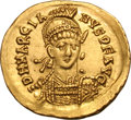 Ancients:Roman Imperial, Ancients: Marcian. 450-457 AD. Solidus, 4.48g (5h). Constantinople.Obv: D N MARCIA - NVS P F AVG Helmeted bust front holding spearov...