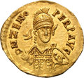 Ancients:Byzantine, Ancients: Ostrogothic. Theodoric the Great. In the name of Zeno.493-526 AD. Solidus, 4.18g (6h). Rome. Obv: D N ZENO- PERP AVGHelmet...