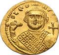 Ancients:Byzantine, Ancients: Leontius. 695-698 AD. Solidus, 4.44g (7h). Constantinople. Obv: D LEO - N P[E AV] Bust facing, wearing crown and loros, and ...