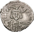 Ancients:Byzantine, Ancients: Leo III. 717-741 AD. Hexagram, 2.67g (6h).Constantinople, 717-720 AD. Obv: DNO LEO - N - P A MUL Bust facing,with short be...