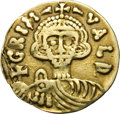 Ancients:World, Ancients: Benevento. Grimoald III, as Dux with Charlemagne. 788-806 AD. Tremissis, 1.23g (7h). Benevento. Obv: GRIM - VALD Bust facing...