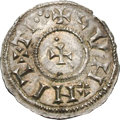 Ancients:World, Ancients: Vikings in Northumbria. 768-814 AD. Penny, 1.42g. (10h). York. Obv: Inverted patriarchal cross with four pellets; CNVT at th...