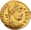 Ancients:Roman Imperial, Ancients: Valens. 364-378 AD. Solidus, 4.45g (12h). Trier, 367-78AD. Obv: D N VALENS - P F AVG Bust draped, cuirassed right, seenfro...