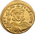 Ancients:Byzantine, Ancients: Constantine V and Leo IV. 741-775 AD. Solidus, 4.41g(6h). Constantinople. Obv: GN C - ON - STANTINU Facing bust ofConstant...