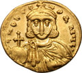 Ancients:Byzantine, Ancients: Leo III and Constantine V. 717-741 AD. Solidus, 4.42g(6h). Constantinople. Obv: DNO LEO - N P A MUL Facing bust of LeoIII,...