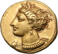 Ancients:Greek, Ancients: Zeugitana. Carthage. c. 310-290 BC. EL Stater, 7.46g (12h). Obv: Head of Tanit left, wreathed in grain, wearing necklace of ...
