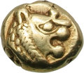 Ancients:Greek, Ancients: Kingdom of Lydia. Time of Alyattes. EL Hemihecte, 1.17g.Obv: Lion's head right with radiate 'wart' on nose. Rx: Incusesqua...