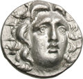 Ancients:Greek, Ancients: Rhodes. c. 205-190 BC. Tetradrachm, 13.52g (12h). Obv: Radiate three-quarter facing head of Helios right. Rx: Rose with sing...