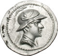 Ancients:Greek, Ancients: Bactria. Eucratides. c. 170-145 BC. Drachm, 4.09g (12h). Obv: Helmeted bust of Eucratides right. Rx: ΒΑΣΙΛΕΩΣ ΜΕΓΑΛΟY above,...