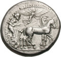 Ancients:Greek, Ancients: Sicily. Syracuse. c. 490-485 BC. Tetradrachm, 17.03g (2h). Obv: Quadriga in slow motion to right, the charioteer holding rei...