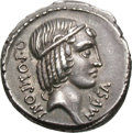 Ancients:Roman Republic, Ancients: Q. Pomponius Musa. Denarius, 4.04g (4h). Rome, 66 BC. Obv: Diademed head of Apollo right, his hair falling in ringlets, larg...