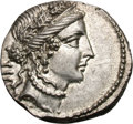 Ancients:Roman Republic, Ancients: Julius Caesar. Denarius, 3.90g (9h). Mint moving with Caesar, 48 BC. Obv: Head of Venus right, wearing oak wreath and diadem...