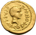 Ancients:Roman Republic, Ancients: Octavian and Julius Caesar. Aureus, 7.73g (3h). Northern Italy, 43 BC. Obv: C CAESAR COS PONT AVG (NT and AV ligate) Bare he...