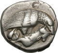 Ancients:Greek, Ancients: Elis. Olympia. 90th Olympiad, c. 420 BC. Stater, 11.94g (1h). Obv: Eagle perched on dead hare. Rx: F - A on either side of t...