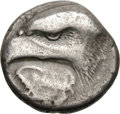 Ancients:Greek, Ancients: Elis. Olympia. 93rd Olympiad, c. 408 BC. Stater, 11.93g (5h). Obv: Head of eagle with piercing eye left; under its beak larg...