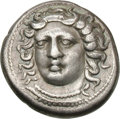Ancients:Greek, Ancients: Elis. Olympia. Hera Mint, 105th Olympiad, c. 360 BC.Drachm, 5.78g (9h). Obv: Facing head of nymph Olympia, copyingKimon's ...