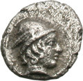 Ancients:Greek, Ancients: Mysia. Cyzicus. c. 430 BC. Hemiobol, 0.34g (11h). Obv:Head of Hermes right with long hair, wearing winged petasos. Rx:KYZI...