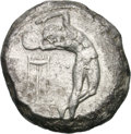 Ancients:Greek, Ancients: Caria. Cos. c. 480/70 BC. Triple Siglos, 16.60g. Obv:[ΚΟΣ] Nude male youth in the process of hurling a discus. He isstandi...